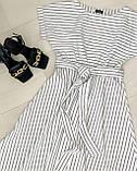 Летнее белое платье миди в полоску ткань стрейч коттон , талия на резинке Норма и Батал, фото 3