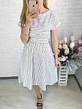 Летнее белое платье миди в полоску ткань стрейч коттон , талия на резинке Норма и Батал, фото 4