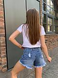 Летние повседневные джинсовые шорты женские со средней посадкой, фото 2