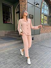 Летний стильный повседневный брючный костюм женский: белый, бежевый, жёлтый, оливковый
