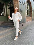 Летний стильный повседневный брючный костюм женский: белый, бежевый, жёлтый, оливковый, фото 2