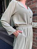 Летний стильный повседневный брючный костюм женский: белый, бежевый, жёлтый, оливковый, фото 3