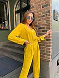 Летний стильный повседневный брючный костюм женский: белый, бежевый, жёлтый, оливковый, фото 4