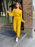 Летний стильный повседневный брючный костюм женский: белый, бежевый, жёлтый, оливковый, фото 5