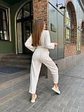 Летний стильный повседневный брючный костюм женский: белый, бежевый, жёлтый, оливковый, фото 6