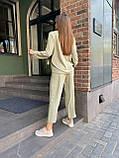 Летний стильный повседневный брючный костюм женский: белый, бежевый, жёлтый, оливковый, фото 7