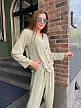 Летний стильный повседневный брючный костюм женский: белый, бежевый, жёлтый, оливковый, фото 8