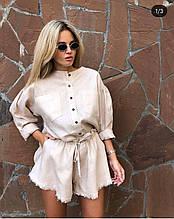 Летний повседневный или праздничный стильный льняной костюм шорты и рубашка: белый или бежевый