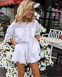 Летний повседневный или праздничный стильный льняной костюм шорты и рубашка: белый или бежевый, фото 2