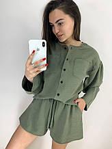Летний стильный повседневный костюм шорты и рубашка из жатки: горчица или хаки размеры Норма и Батал