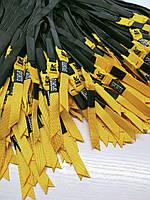 Шнур (текстильний) №13 плоский чорний з жовтим наконечником 125см.