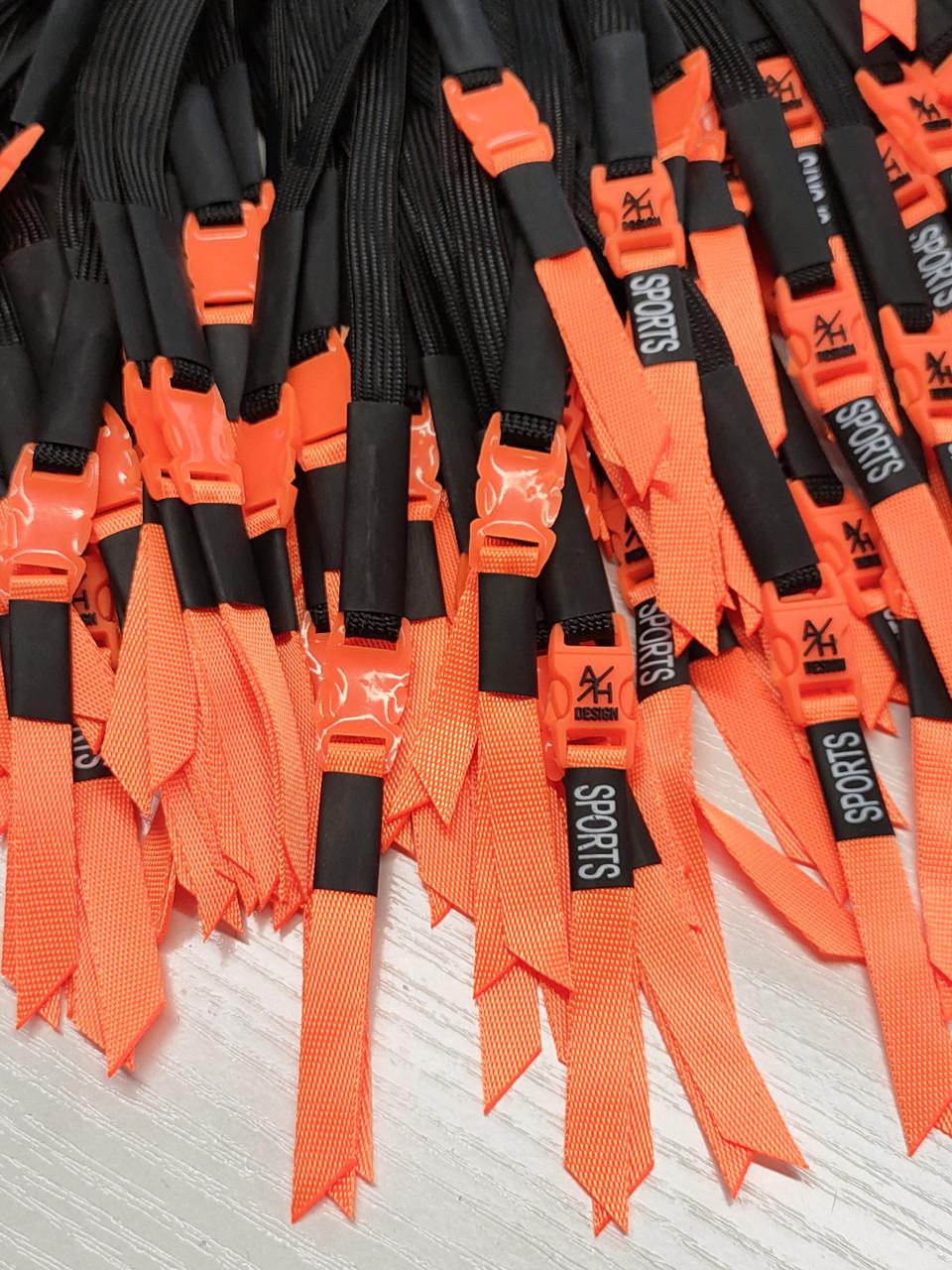 Шнур (текстильний) №20 плоский чорний з оранжевим наконечником 125см.