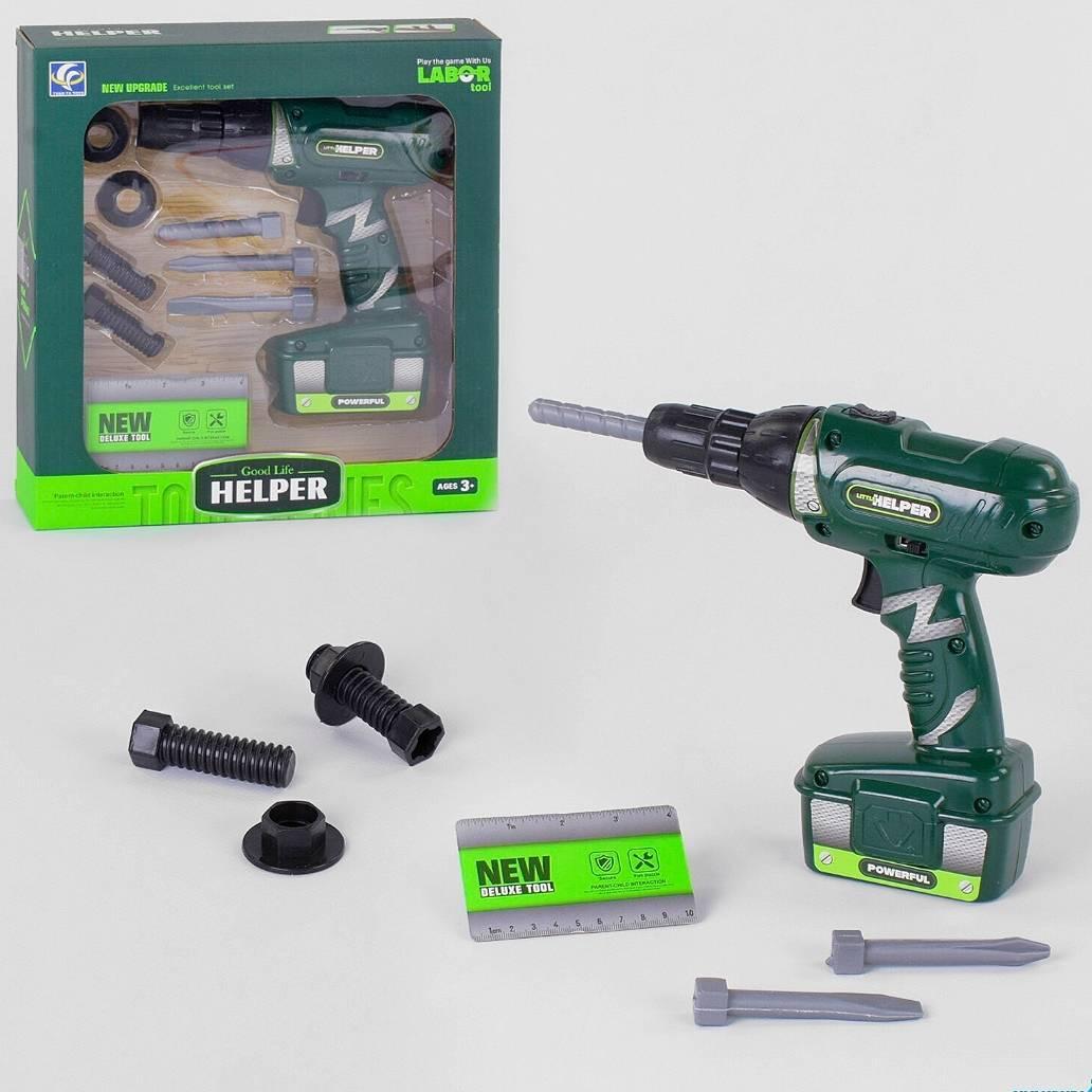 Детский игровой набор инструментов с шуруповертом  HELPER YF787-1 на батарейках, 9 предметов