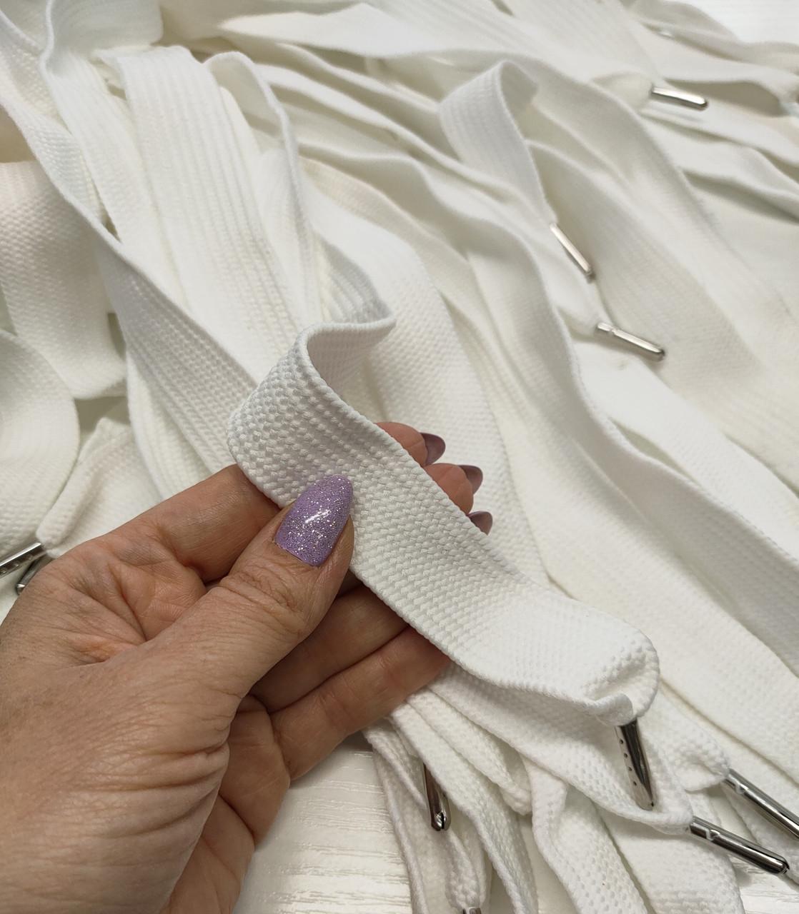 Шнур (текстильный) №24 плоский белый ширина 2.5см,  125см.