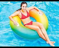 Надувной круг Разноцветный Вихрь цвета для детей и взрослых Интекс Качественный Intex 58202 Размер 122х122 см