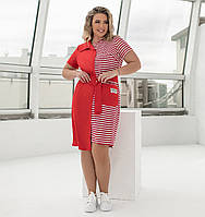 Ассиметричное летнее платье в полоску для полных женщин
