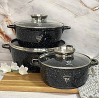 Набор кастрюль с гранитным покрытием Top Kitchen TK00021 Набор кухонной посуды кастрюли с крышками