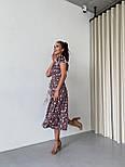 Квіткове плаття міді на запах з короткими рукавами і розрізом на нозі (р. XS-L) 14032527, фото 5