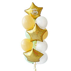 Связка: 3 звезды сатин золото, на одной белая надпись Happy Birthday 4 зеленых макарун, 3 персик макарун, 3