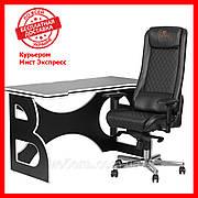 Комплект для работы дома компьютерный стол и кресло Barsky HG-06/GB-01 Homework Game Black/White