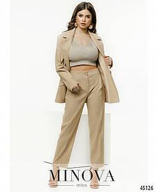 Модный женский бежевый костюм изо льна с брюками и жакетом размер от 42 до 52