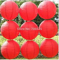 Шар плиссе подвесной 40 см. большой  красный
