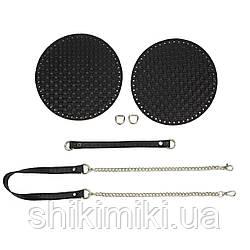 Комплект для сумки Paris з натуральної шкіри, колір чорний ротанг