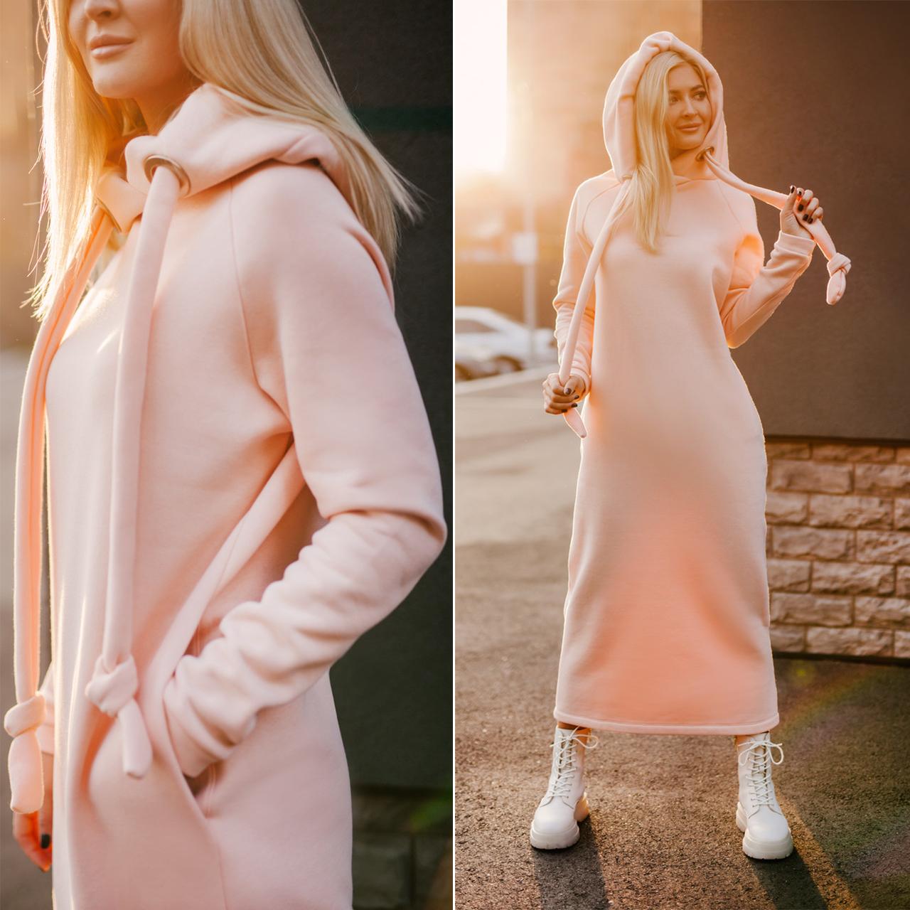 Тепле плаття на флісі в кольорі пудра