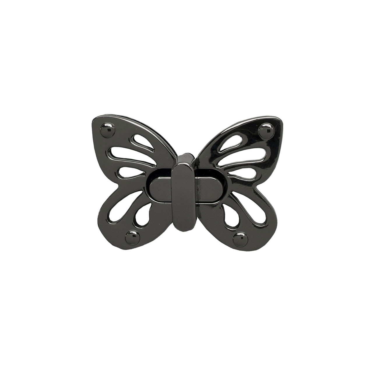 Замок поворотный на винтах 5х3,5 см Бабочка Черный металлик