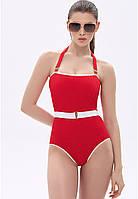 Слитный купальник женский, цвет красный
