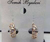 Милые позолоченные серьги с кристаллами. Женская бижутерия с позолотой для женщин. 22