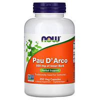 Кора муравьиного дерева, Pau D'Arco, Now Foods, 500 мг, 250 растительных капсул
