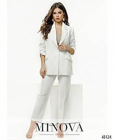 Стильный льняной женский брючный костюм белого цвета размер от 42 до 52