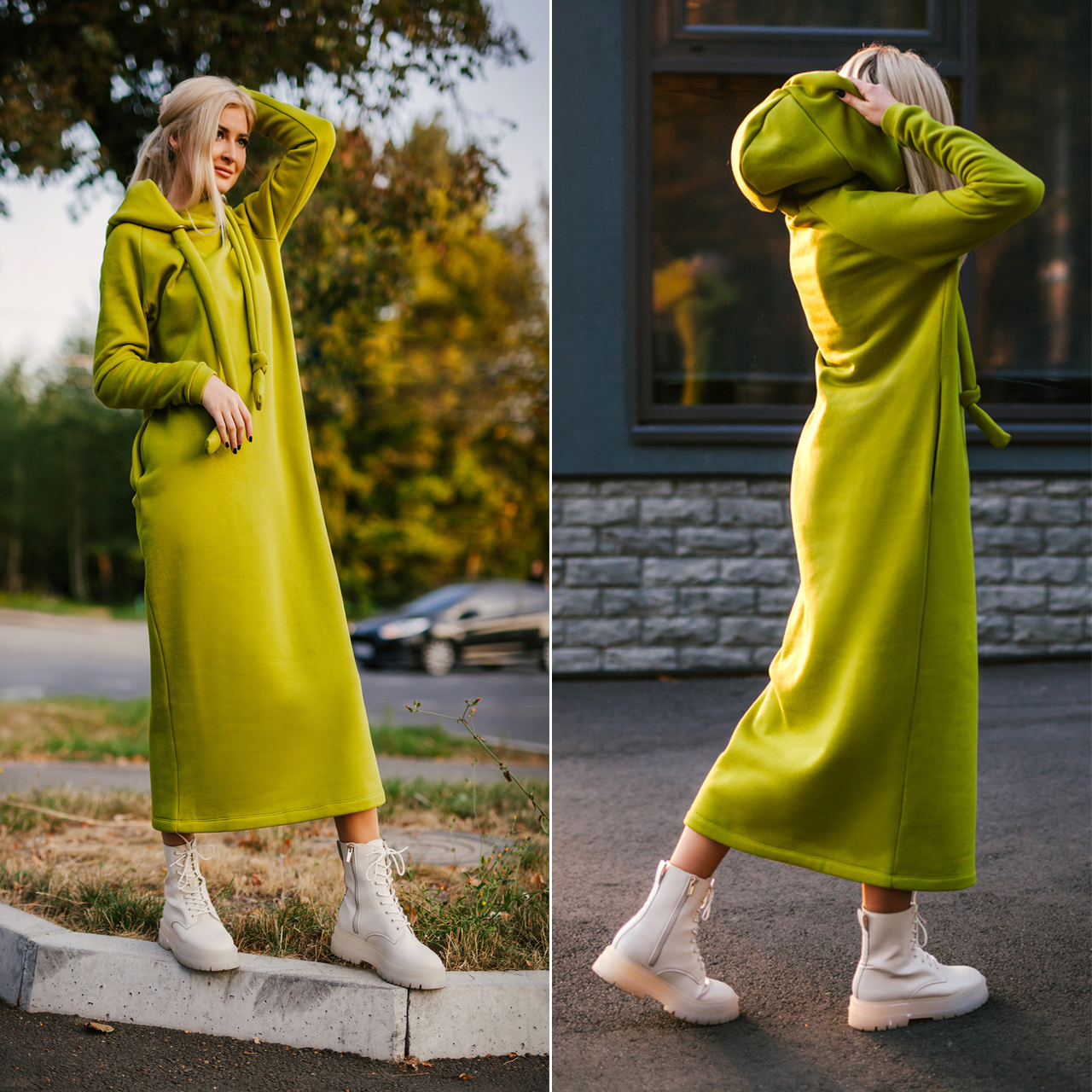 Платье длинное на флисе в цвете олива