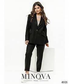 Черный женский костюм с брюками и удлиненным пиджаком классика  лён размер от 42 до 52
