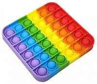 Сенсорна іграшка антистрес Pop It силіконова пупырка поп іт квадратний Різнобарвний, фото 1