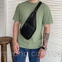 Мужская кожаная нагрудная сумка слинг через плечо H.T. Leather, фото 2