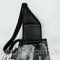 Чоловіча шкіряна  нагрудна сумка слінг через плече H. T. Leather, фото 3