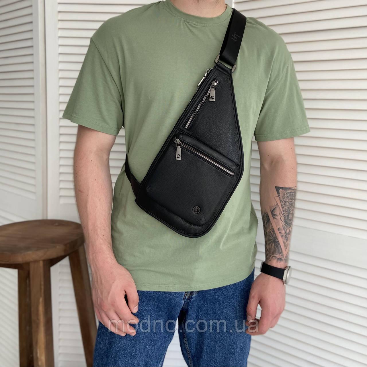 Мужская кожаная нагрудная сумка слинг через плечо H.T. Leather
