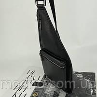 Чоловіча шкіряна  нагрудна сумка слінг через плече H. T. Leather, фото 4