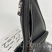 Чоловіча шкіряна  нагрудна сумка слінг через плече H. T. Leather, фото 6