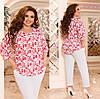 Костюм літній з укороченими брюками і блузкою, з 48-62 розмір