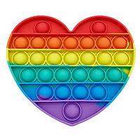 Сенсорна іграшка антистрес Pop It силіконова пупырка поп іт серце Різнобарвний