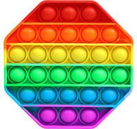 Сенсорна іграшка антистрес Pop It силіконова пупырка поп іт восьмикутник Різнобарвний, фото 1