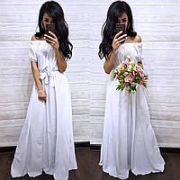 Вечернее платье в пол с открытыми плечами летнее