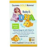 ДГК для детей, детская омега-3 с витамином D3, California Gold Nutrition,1050 мг, 59 мл (2 жидк. унции)