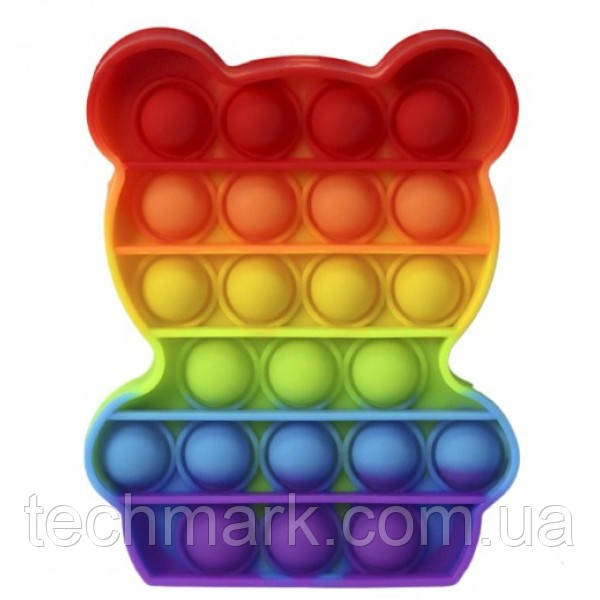 Игрушка Pop It Антистресс сенсорная Силиконовая Поп Ит Push Up Bubble Радужный Мишка