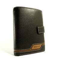 Портмоне, кошелек мужской кожаный  Prensiti 8949 A черный, чехол для прав, отделы для карт