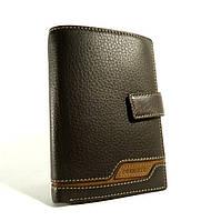 Портмоне, кошелек мужской кожаный  Prensiti 8949 В коричневый, чехол для прав, отделы для карт