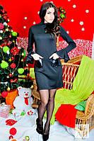 Платье черное с кожаными кармашками. Арт-1435/17